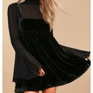 Free People counting stars black velvet dress